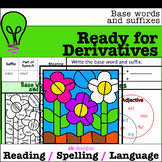 Suffixes, Base Words, Derivatives Color-by-Code, Practice