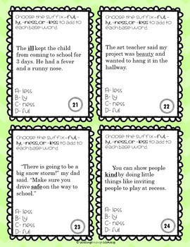 Suffixes + Base Words (ly, ful, ness, less) Task Cards