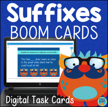 Suffixes DIGITAL Task Cards BOOM CARDS Gr 2-3