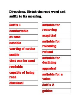 Suffixes