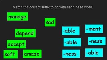 Suffixes - Google Classroom Activity on Google Slides