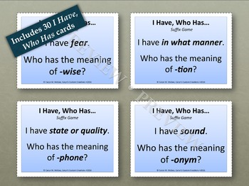 Suffixes - I Have, Who Has