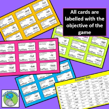 Suffixes - I have...What does it mean? Loop Game (36 Cards) Fast and fun!