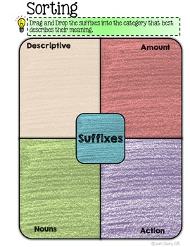 Suffixes Interactive Activities for Google Classroom and One Drive