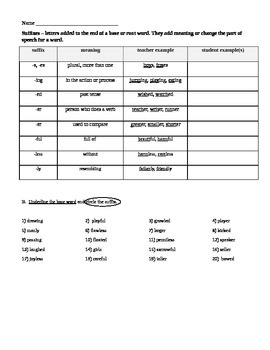 Suffixes Introduction Worksheet and Chart