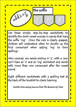 Suffixes. Rules for adding 'ing' workbook, make it easy - Remediate spelling