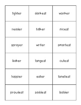 Suffixes Sorting Center (-er and -est) and Recording Sheet