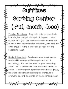 Suffixes Sorting Center (-ful, -less, -ment) and Recording Sheet