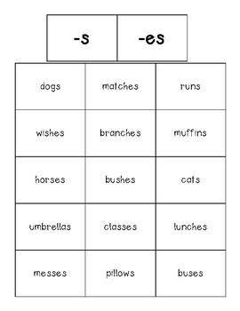 Suffixes Sorting Center (-s and -es) and Recording Sheet