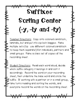 Suffixes Sorting Center (-y, -ty and ly-) and Recording Sheet