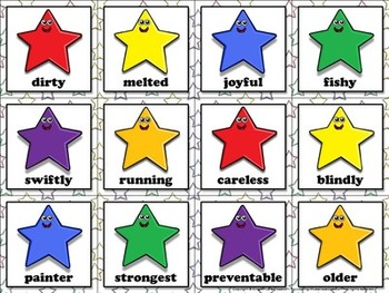 Suffixes: Suffixes (-ly, -er, -y, -ful, -less, -able, etc.) Matching Game Sort
