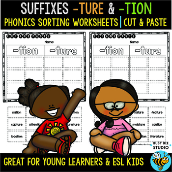 -TURE and -TION | Cut and Paste Worksheets