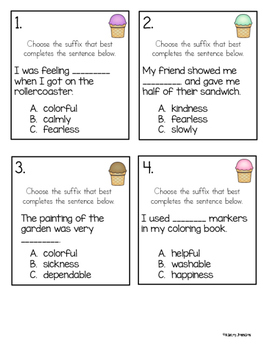 Suffixes Task Card Activity