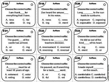 Suffixes Task Cards 2nd, 3rd, 4th Grade Affixes