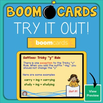 "Suffixes: Tricky ""y"" Rule Interactive Digital Task Cards"