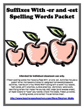 Suffixes With -er and -est  Spelling Basic Word Work Packet