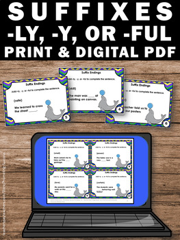 Suffixes ly ful y, Suffix Task Cards for 3rd Grade, 2nd or 1st