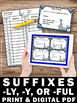 Suffixes Task Cards for Literacy Center Games and Word Wor