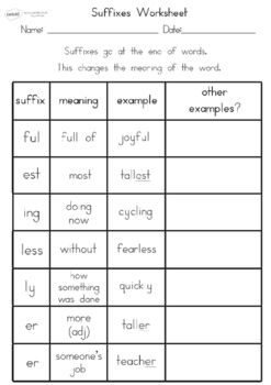 Suffixes Worksheet