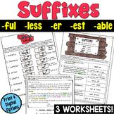 Suffixes Worksheets (-ful, -less, -er, -est, -able, -er)