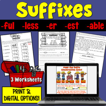Suffixes Worksheets (-ful, -less, -er, -est, -able, -er)