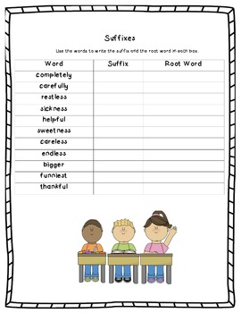 Suffixes Worksheet - Root Word and Suffixes