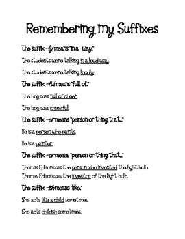 Suffixes-Worksheet and Reference Sheet