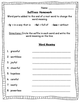 Suffixes Worksheet -less, -ly, and -ful