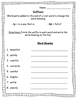 Suffixes Worksheet -ly and -ful