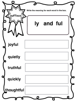 Suffixes Worksheet  (ly & fun) - 2nd - 5th Grade