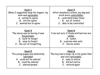 Suffixes able and ible Task Cards for Journeys 3rd Grade