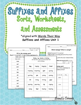 Suffixes and Affixes Sort, Practice Sheet, Assessment
