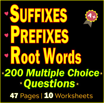 Suffixes and Prefixes, Root Words. ELA Grammar Worksheets / Tests | Gr 9 - 10