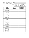Suffixes and Root Word Chart