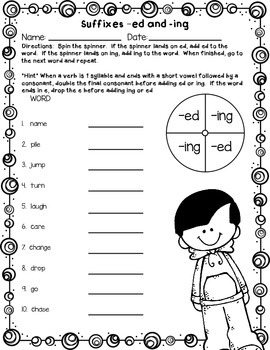 Suffixes -ed and -ing Printables, Games, Task Cards, Read/Write the Room