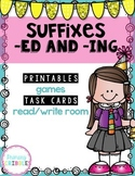 Suffixes -ed and -ing Printables, Games, Task Cards, Read/