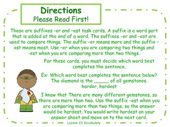 Suffixes er and est Task Cards for Journeys 3rd Grade