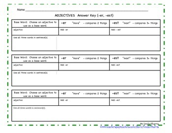Suffixes:  er and est  Worksheet