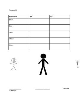 Suffixes (-er, -est) week lesson plan