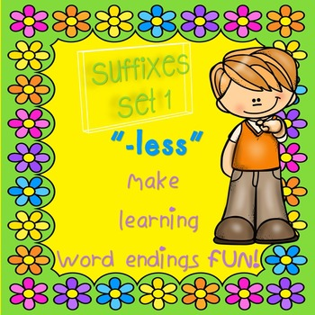 "Suffixes for Little Kids! ""-less"" Set 1 Engaging & Fun"