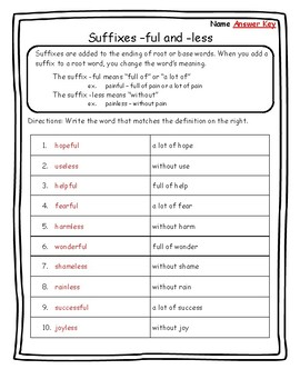 Suffixes -ful and -less Suffixes Worksheets Suffixes Practice Suffix Worksheets