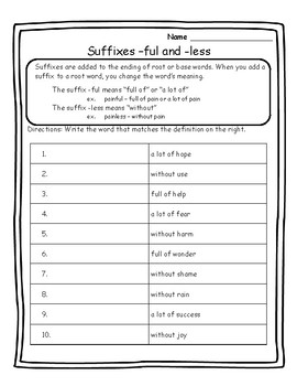 Suffixes -ful and -less Suffixes Worksheets Suffixes Practice Suffix ...