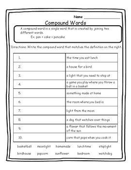 Language Arts Activities - Skill Practice - Compound Words Practice Activity