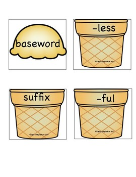 Suffixes -ful and -less Ice Cream Stack Activity/Literacy Center and Worksheet