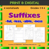 Suffixes:  -ful, -less, -able, -ness / 3 worksheets - Grad