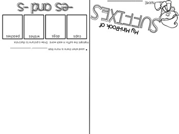 Suffixes (-ing, -ed, -s/-es) Flip-Flap Booklet