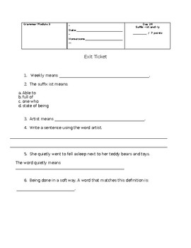 Suffixes -ist and -ly worksheet