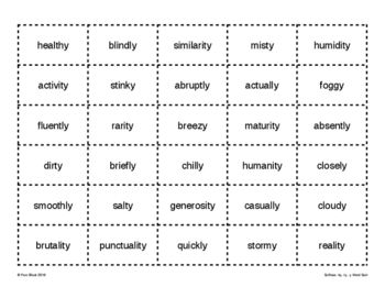 Suffixes -ity, -ly, -y Word Sort {Differentiated} + Seat work