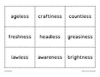 Suffixes -less and -ness Word Sort {Differentiated} + Seat work