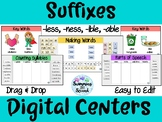 Suffixes (less, ness, ible, able) Digital Centers